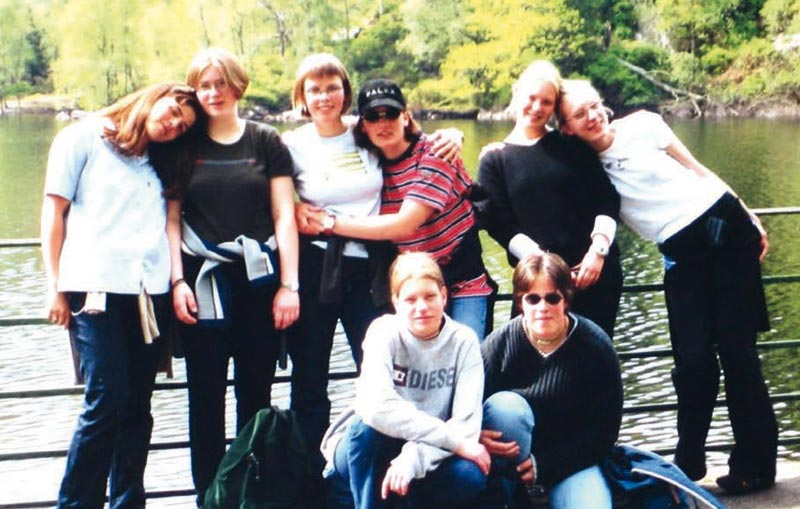 "The ""Girl Group"" from the graduating class that made the first Scotland journey from Eslohe in 1997"