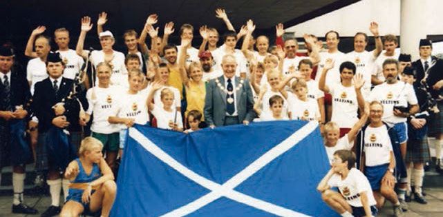 8th august 1986; 40 german athletics reached the end of their 1,000 run from Hochsauerland when they were officially welcomed to West Lothian with a civic reception in council headquarters by district council convener Dominic Mc Cauley