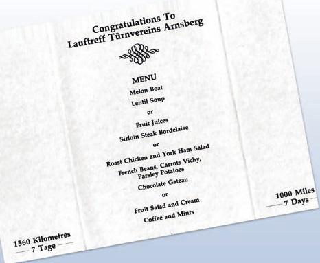 Speisekarte (speziell für den Besuch des Turnvereins Arnsberg)